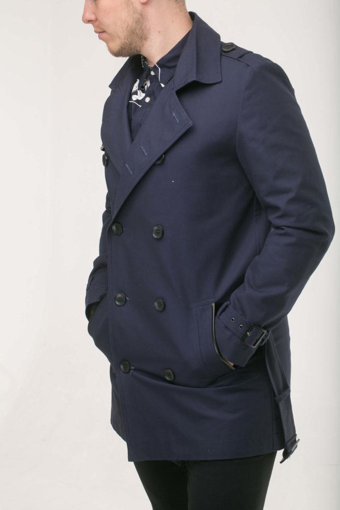 Синий двубортный тренч из хлопка мод.1с