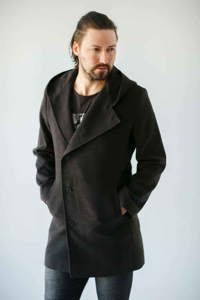 Удлиненное пальто с капюшоном
